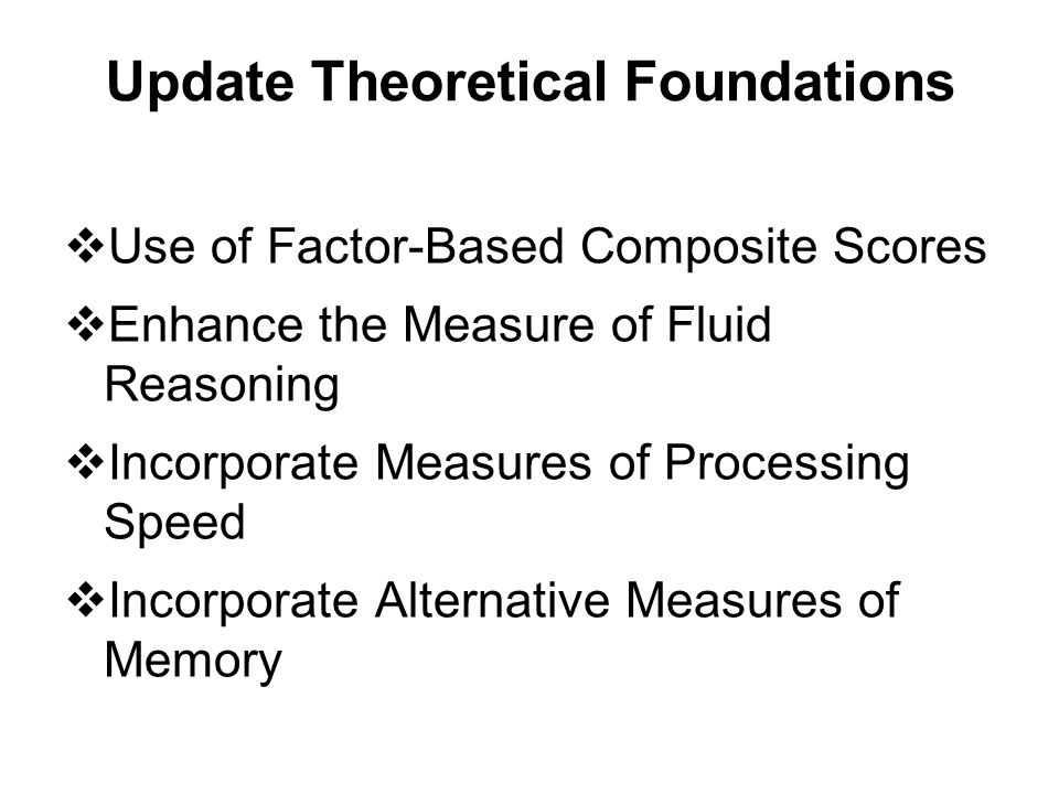 Update Theoretical Foundations