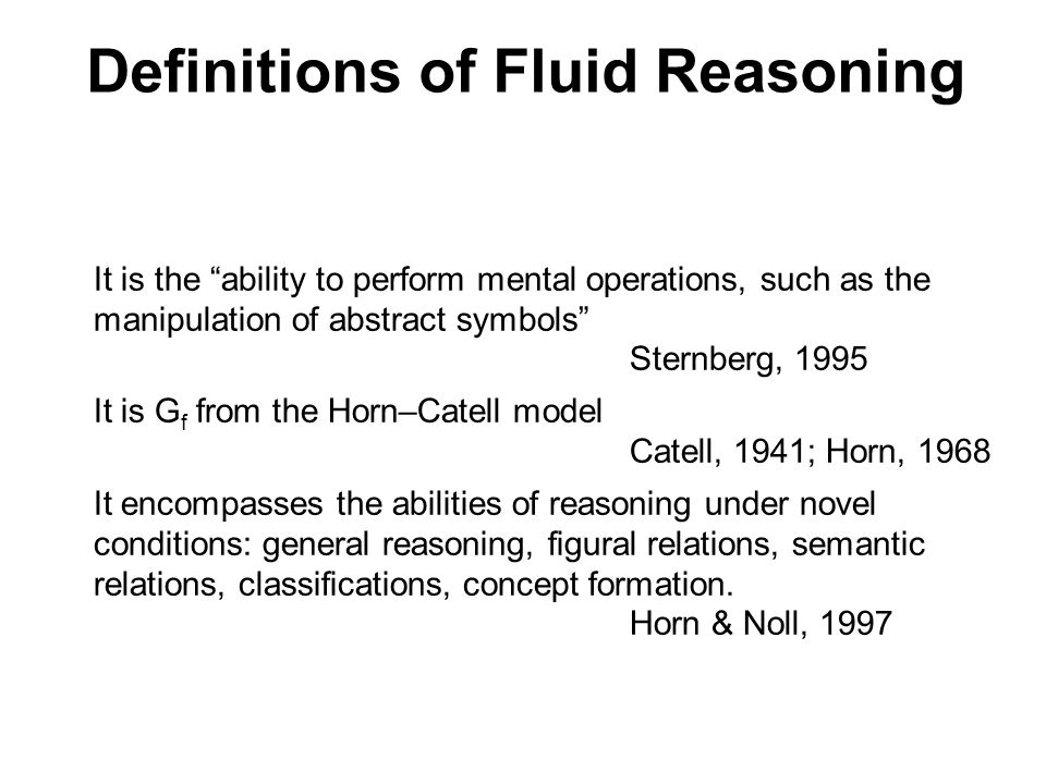 Definitions of Fluid Reasoning