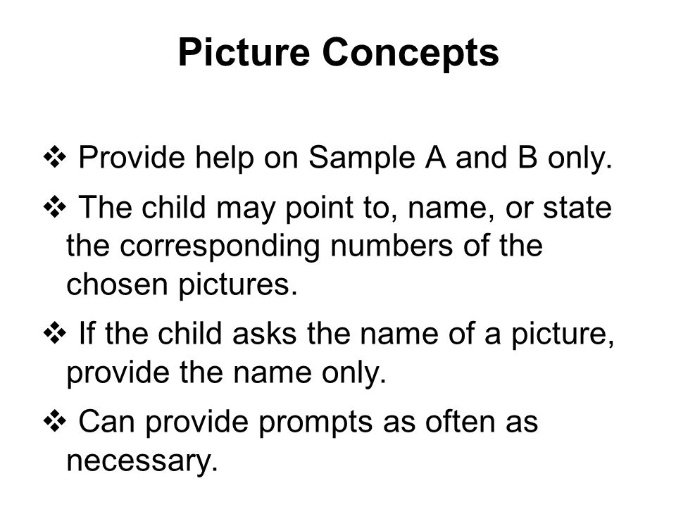 Picture Concepts Provide help on Sample A and B only.