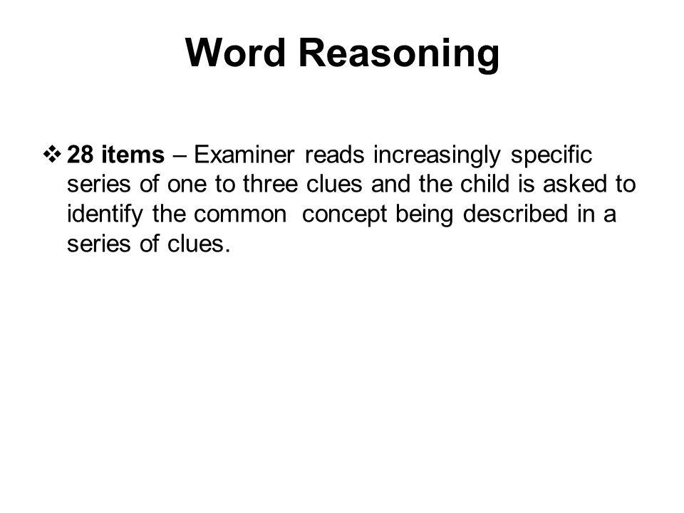 Word Reasoning