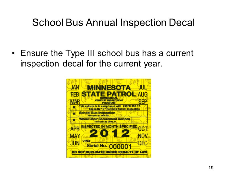School Bus Annual Inspection Decal