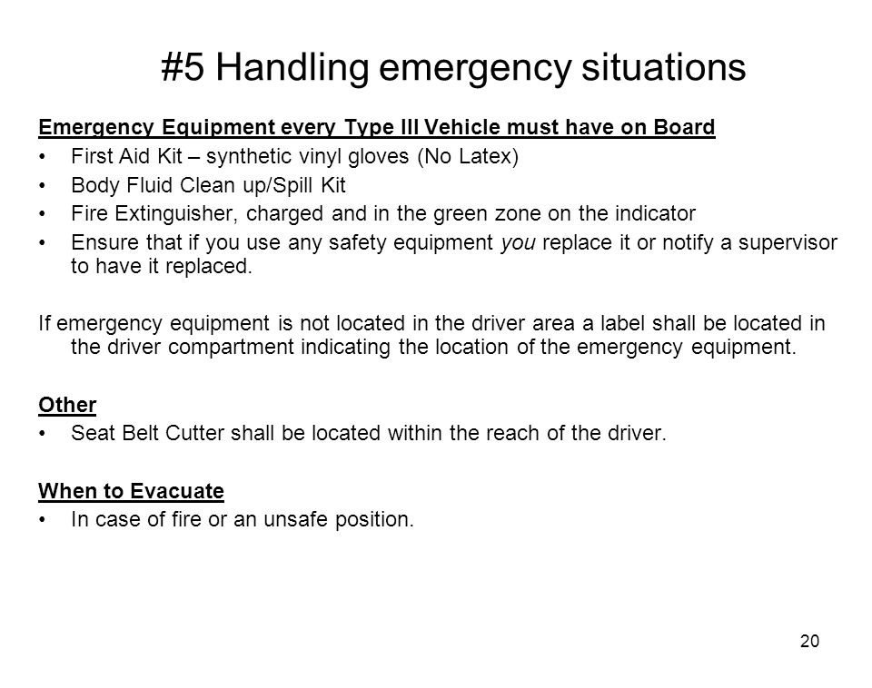 #5 Handling emergency situations