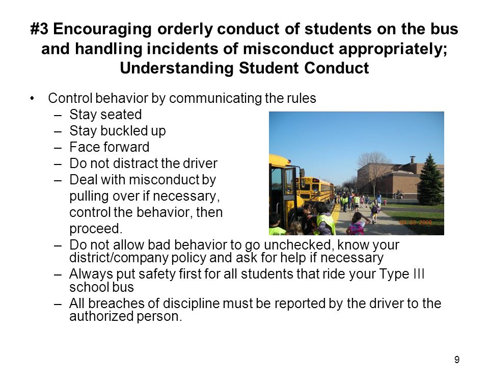 #3 Encouraging orderly conduct of students on the bus and handling incidents of misconduct appropriately; Understanding Student Conduct