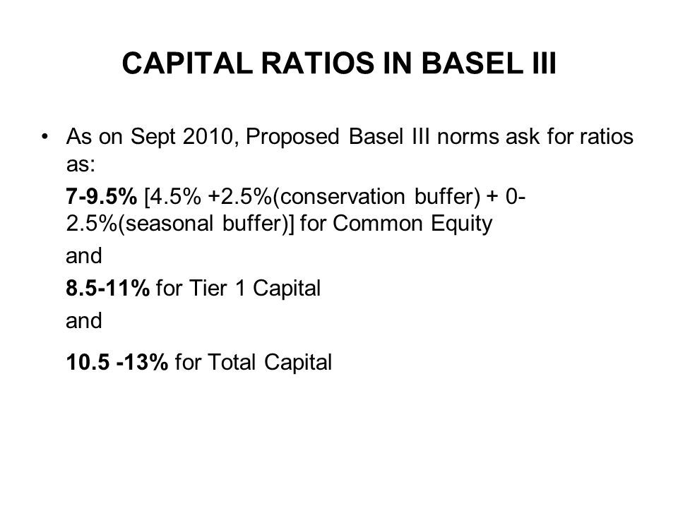 CAPITAL RATIOS IN BASEL III