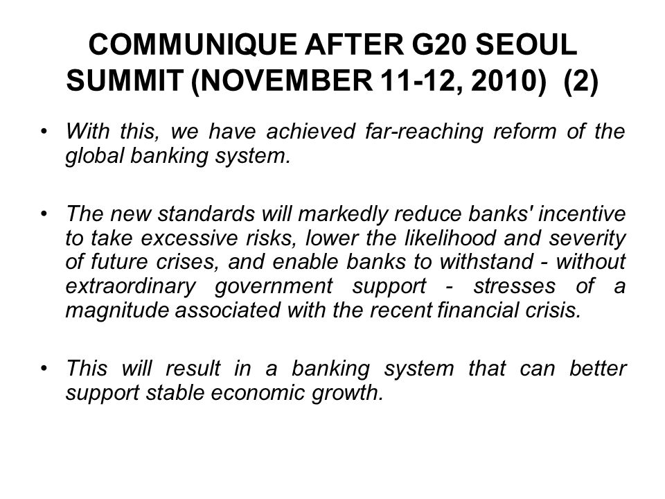 COMMUNIQUE AFTER G20 SEOUL SUMMIT (NOVEMBER 11-12, 2010) (2)