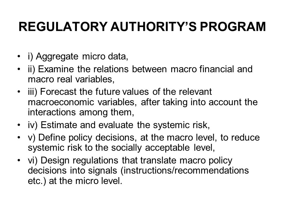 REGULATORY AUTHORITY'S PROGRAM