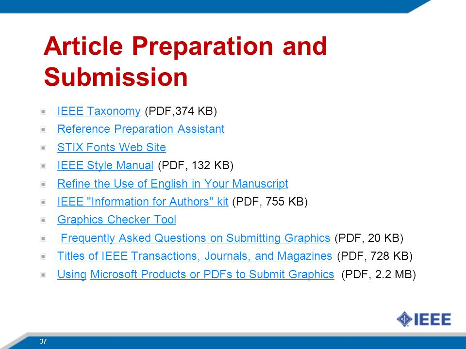 Article Preparation and Submission