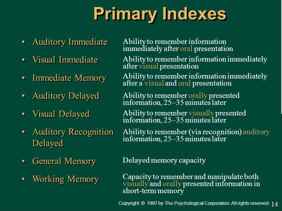 Primary Indexes Auditory Immediate Visual Immediate Immediate Memory