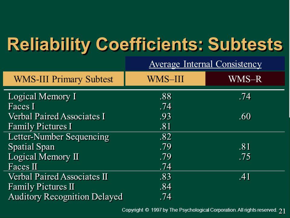 Reliability Coefficients: Subtests