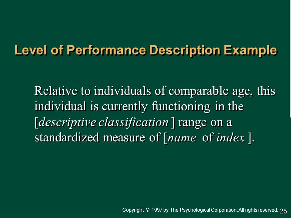 Level of Performance Description Example