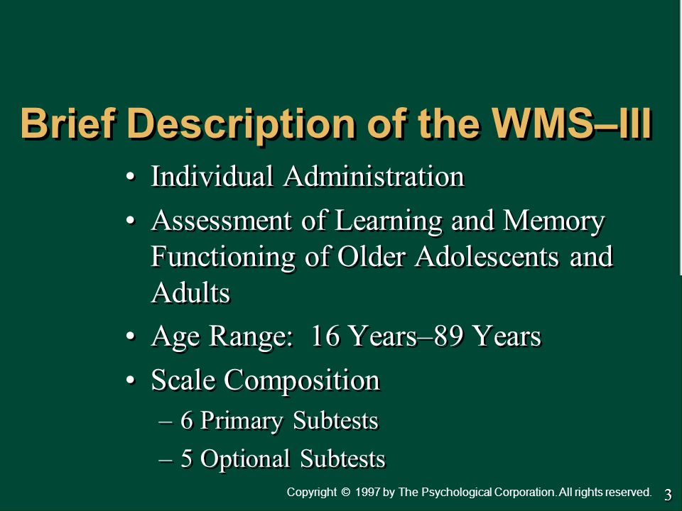 Brief Description of the WMS–III