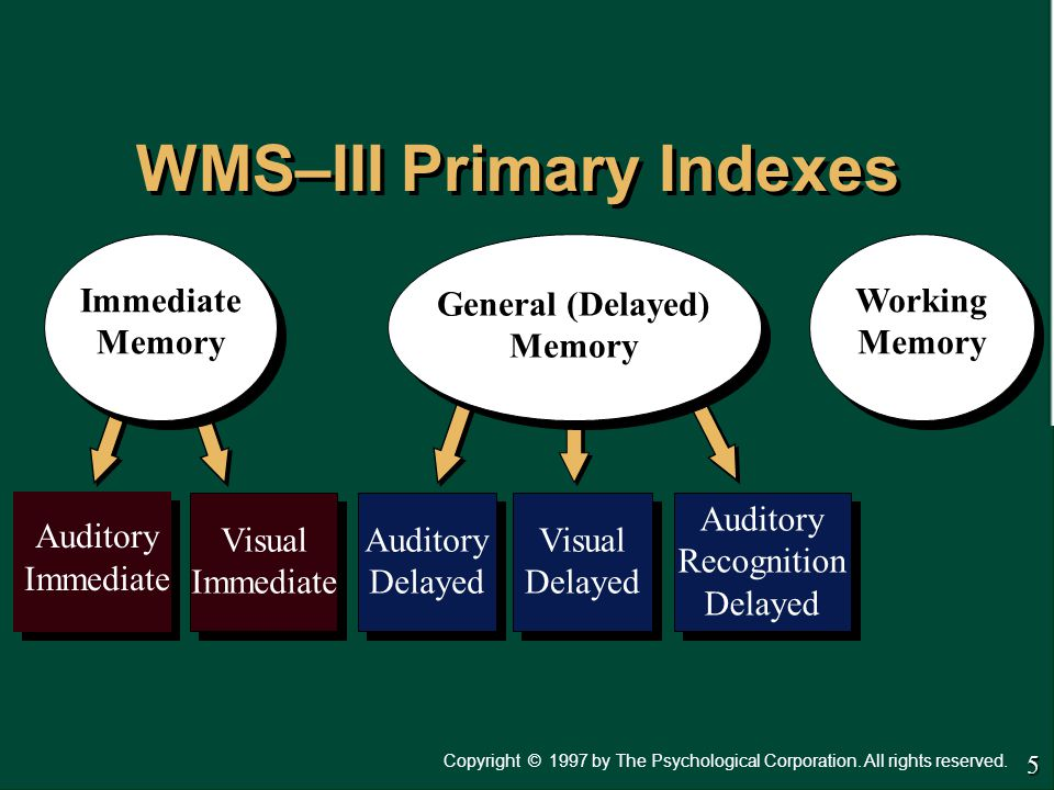 WMS–III Primary Indexes