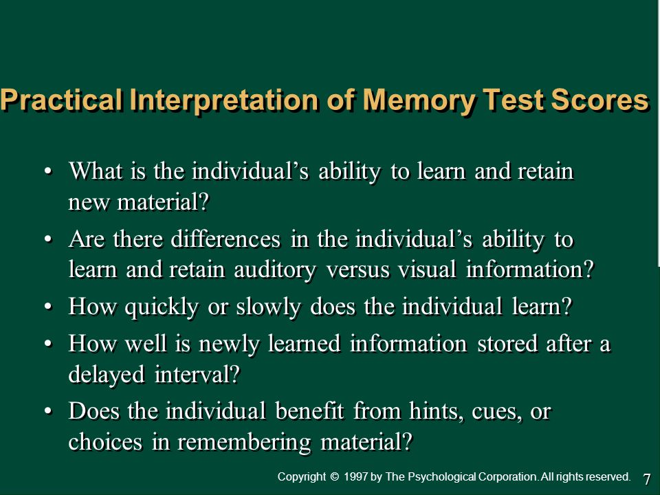 Practical Interpretation of Memory Test Scores