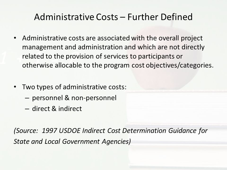 Administrative Costs – Further Defined