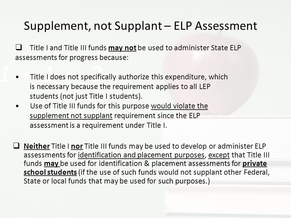 Supplement, not Supplant – ELP Assessment