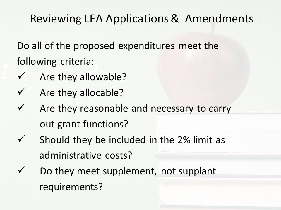 Reviewing LEA Applications & Amendments