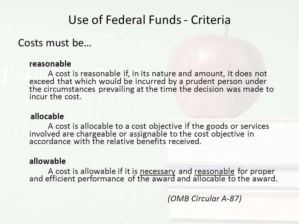 Use of Federal Funds - Criteria