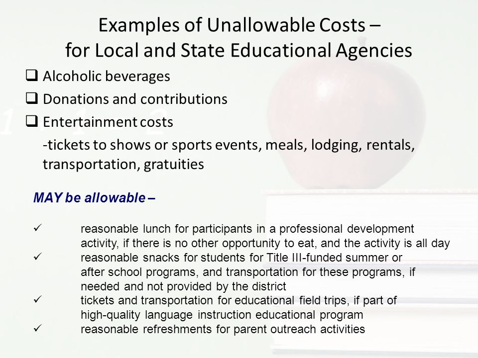 Examples of Unallowable Costs – for Local and State Educational Agencies
