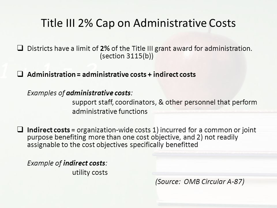 Title III 2% Cap on Administrative Costs