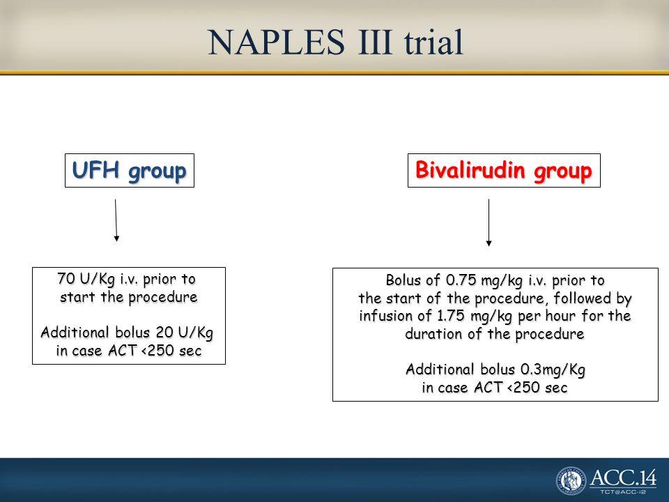 NAPLES III trial UFH group Bivalirudin group 70 U/Kg i.v. prior to