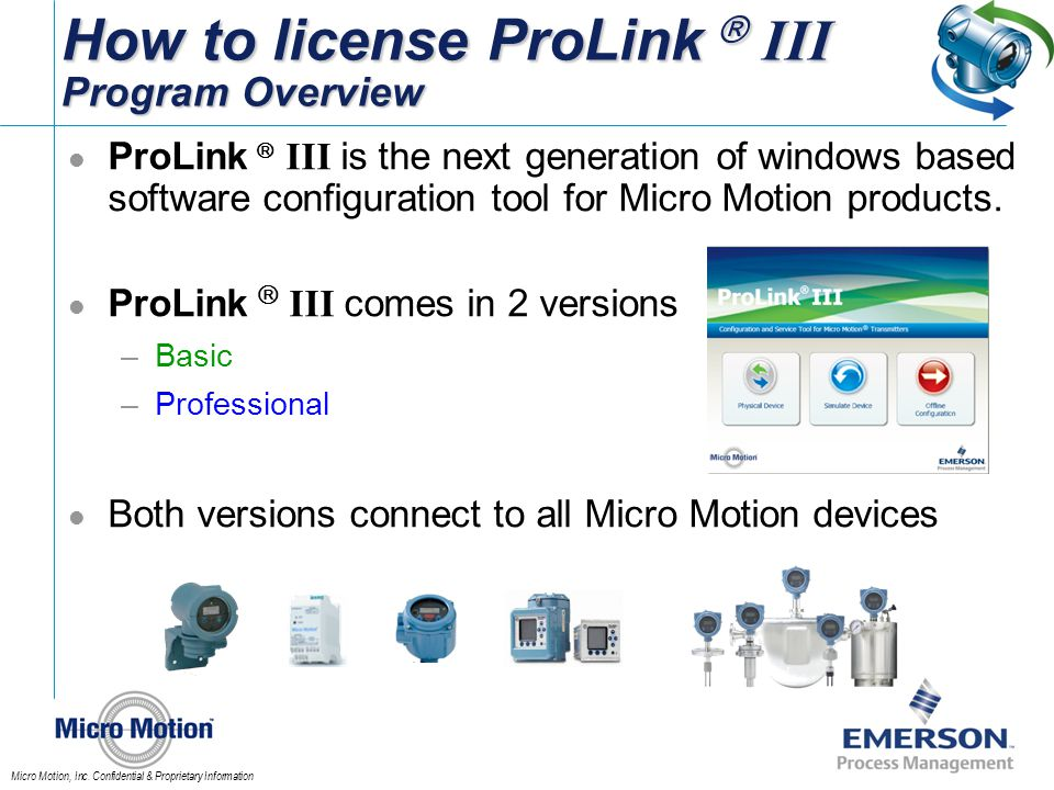 How to license ProLink  III Program Overview