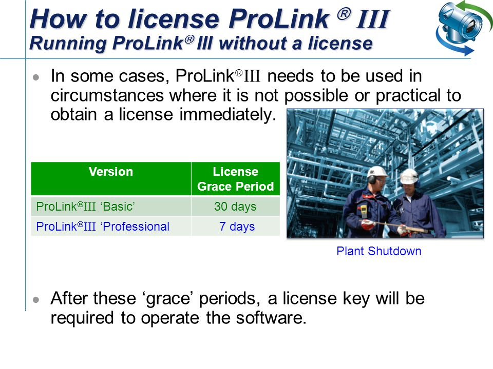 How to license ProLink  III Running ProLink III without a license