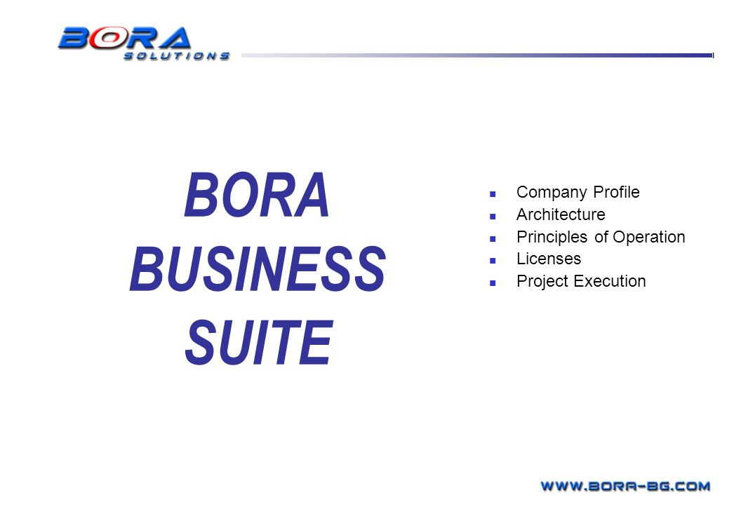 BORA BUSINESS SUITE BORA Business Systems Company Profile Architecture