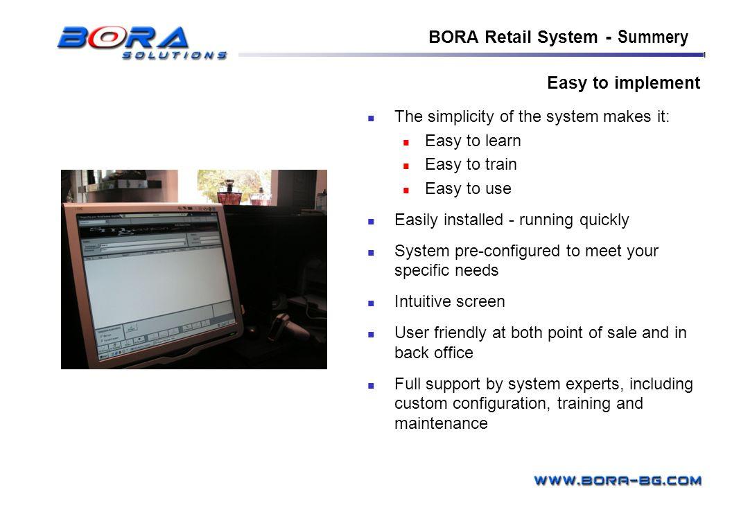 BORA Retail System - Summery