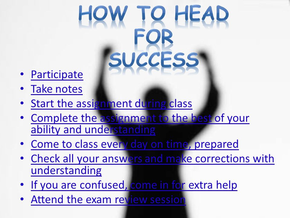 How To Head For Success Participate Take notes