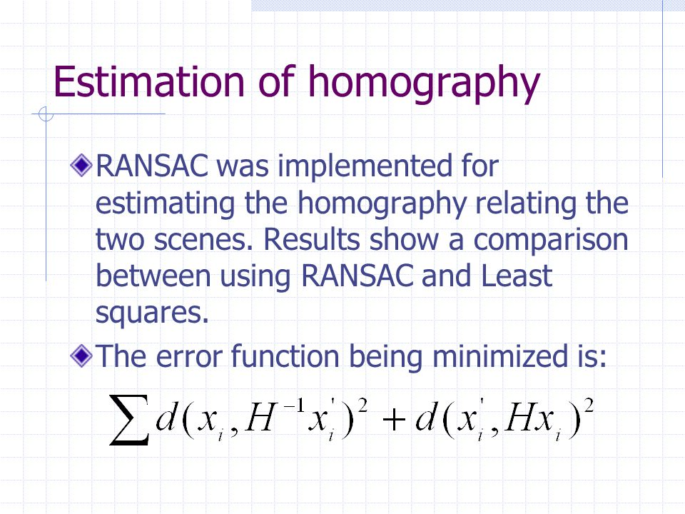 Estimation of homography
