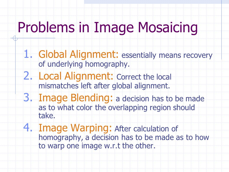 Problems in Image Mosaicing