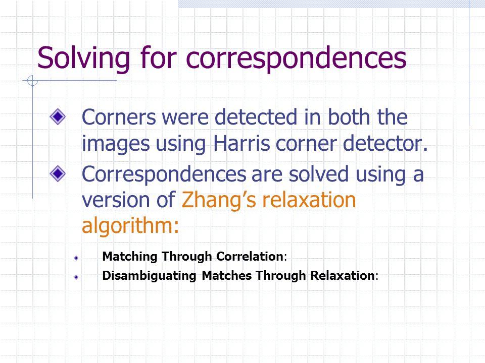 Solving for correspondences