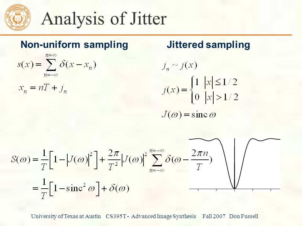 Analysis of Jitter Non-uniform sampling Jittered sampling