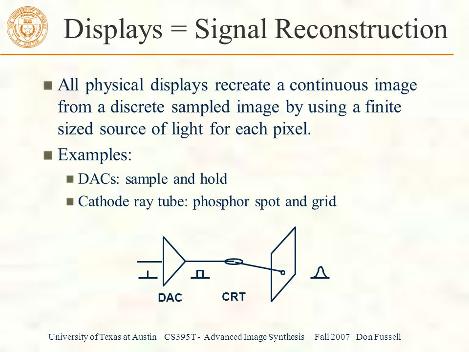 Displays = Signal Reconstruction