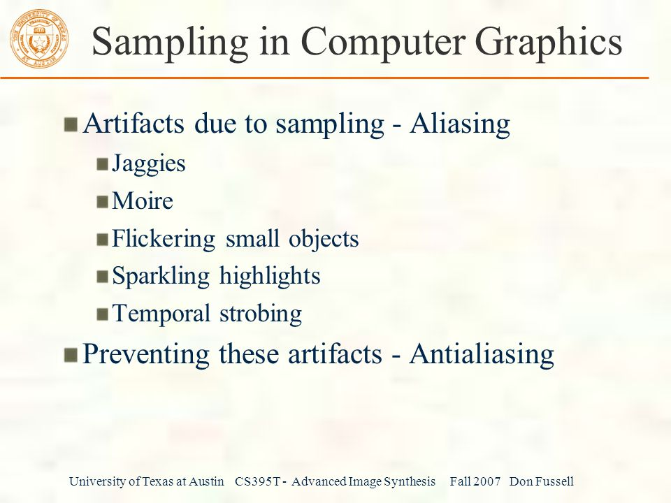 Sampling in Computer Graphics