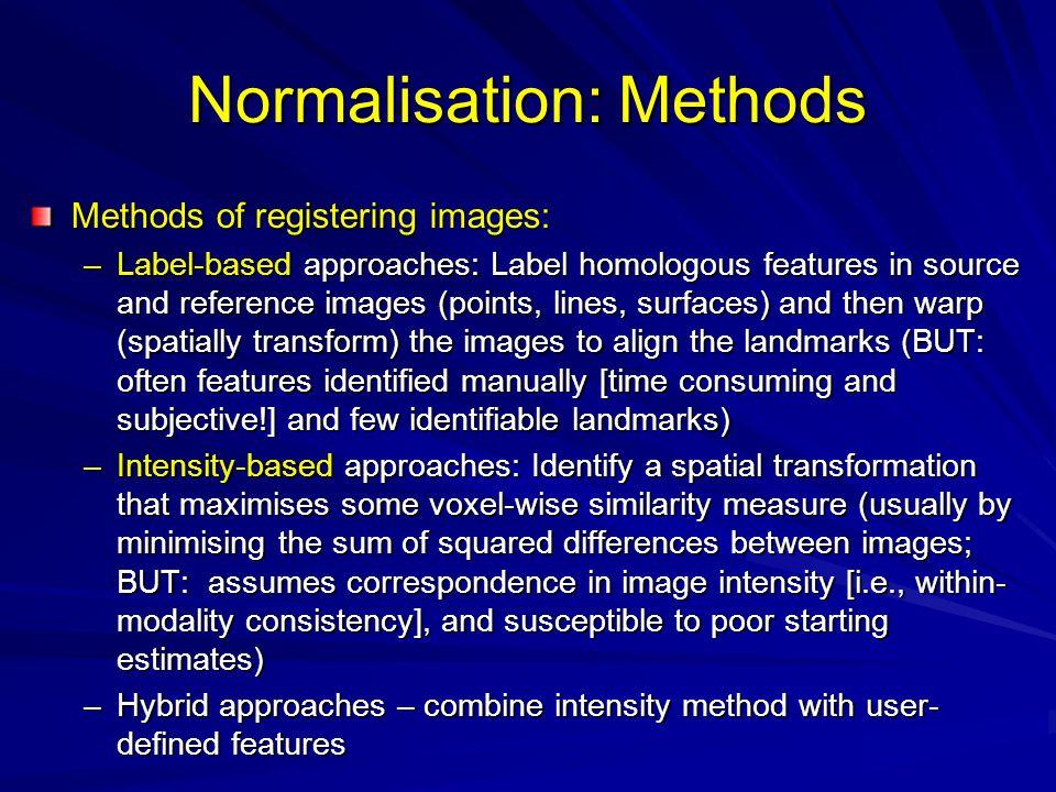 Normalisation: Methods
