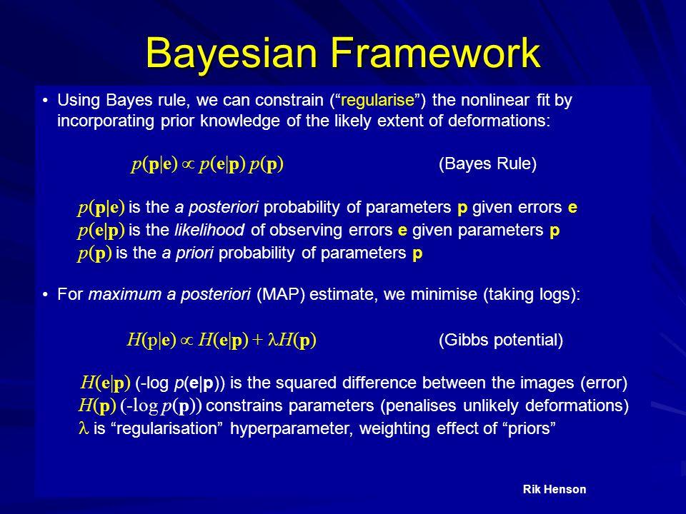 Bayesian Framework p(p|e)  p(e|p) p(p) (Bayes Rule)