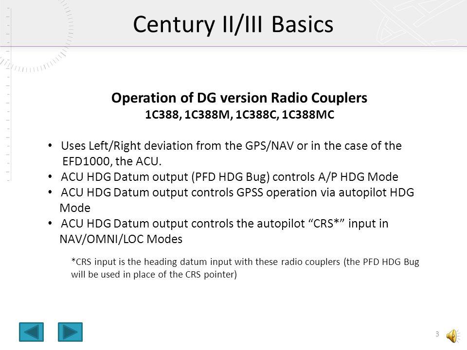Operation of DG version Radio Couplers