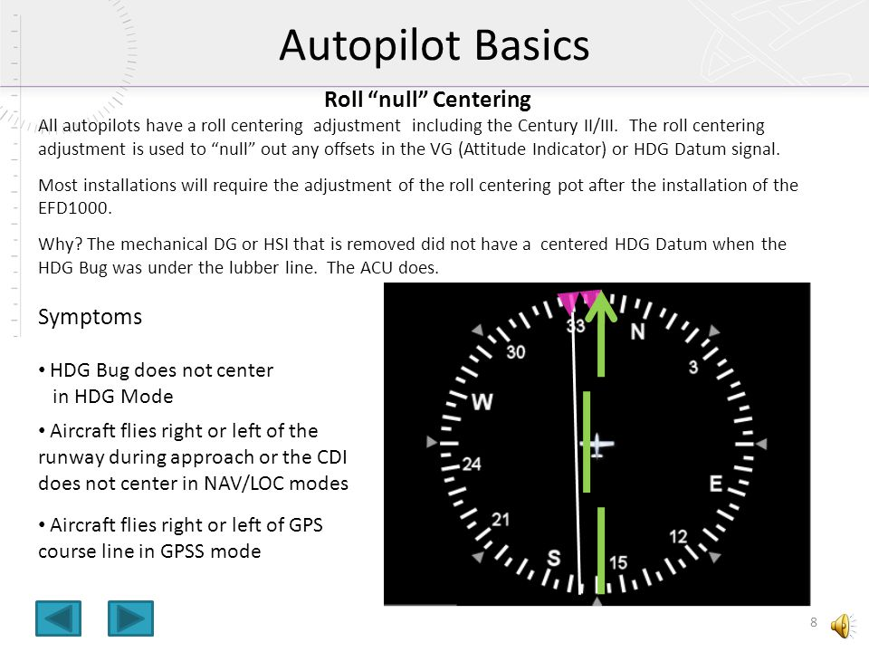 Autopilot Basics Roll null Centering Symptoms