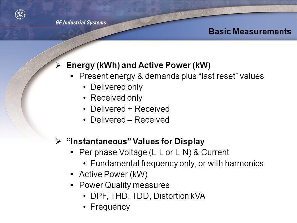 Basic MeasurementsEnergy (kWh) and Active Power (kW) Present energy & demands plus last reset values.