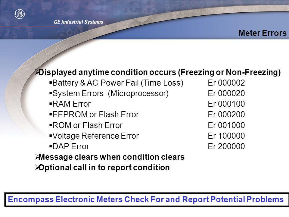 Meter Errors Displayed anytime condition occurs (Freezing or Non-Freezing) Battery & AC Power Fail (Time Loss) Er 000002.