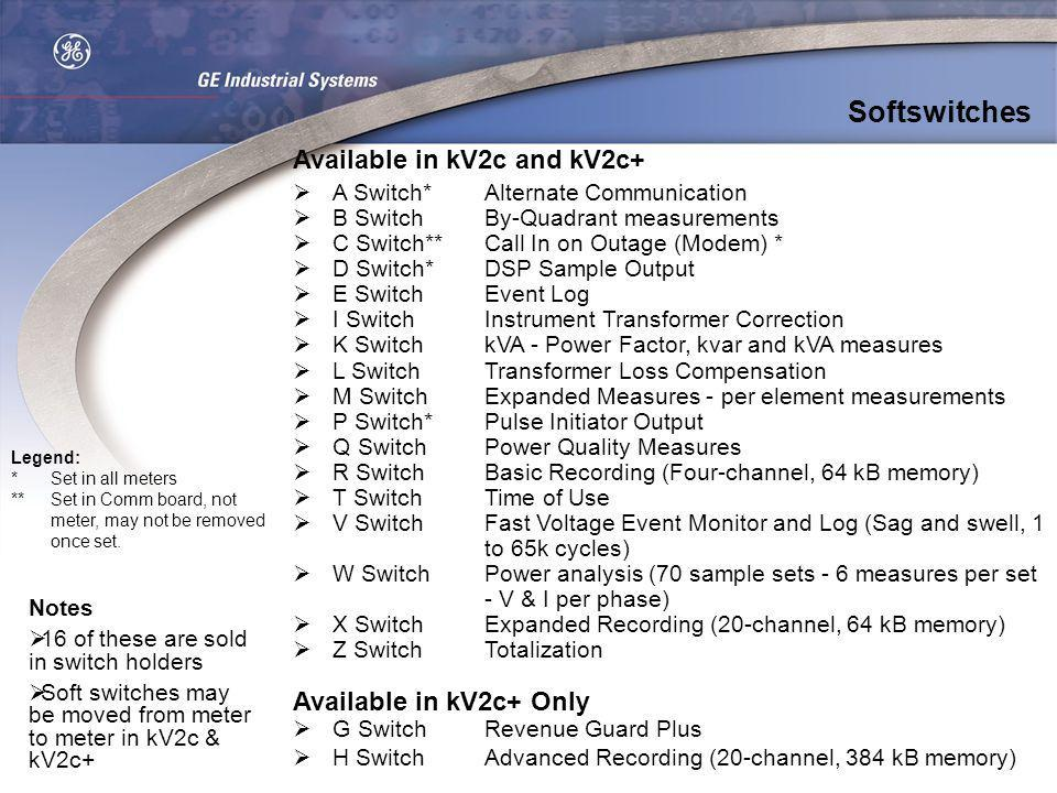 Softswitches Available in kV2c and kV2c+ Available in kV2c+ Only