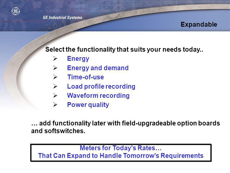 Select the functionality that suits your needs today.. Energy