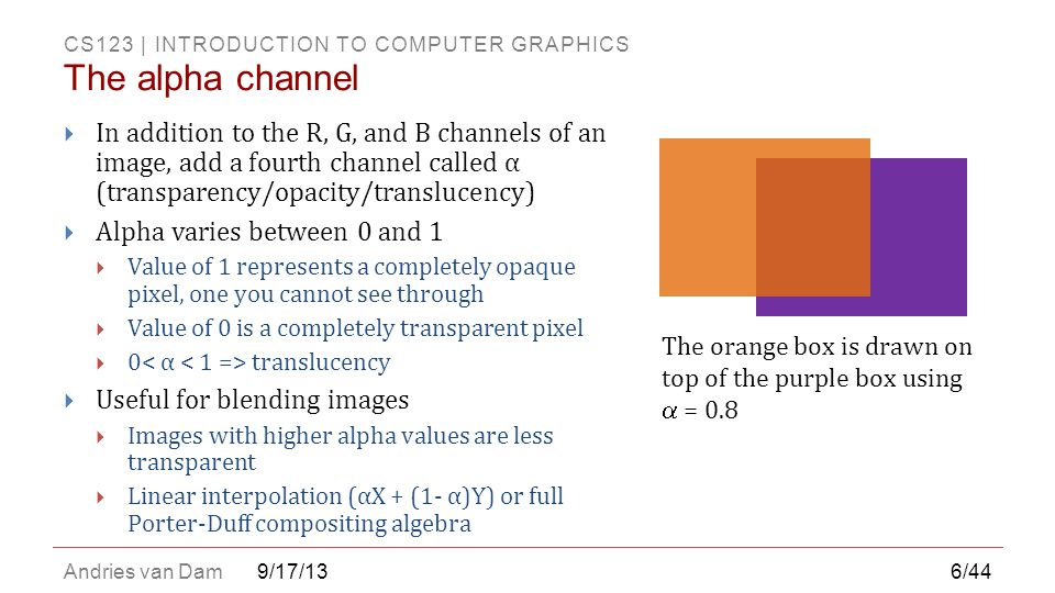 The alpha channel In addition to the R, G, and B channels of an image, add a fourth channel called α (transparency/opacity/translucency)
