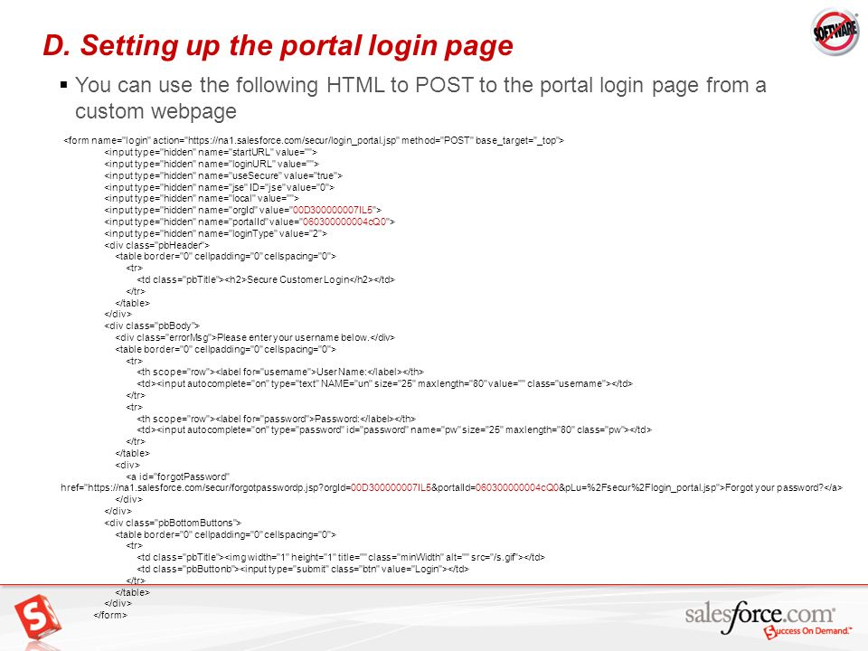 D. Setting up the portal login page