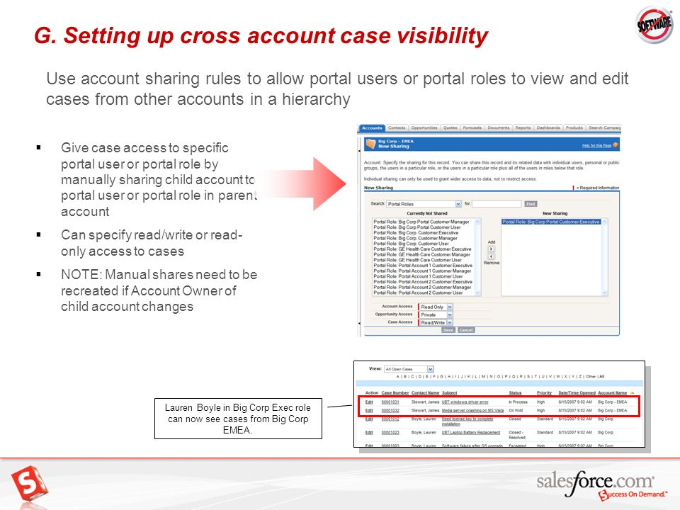 G. Setting up cross account case visibility
