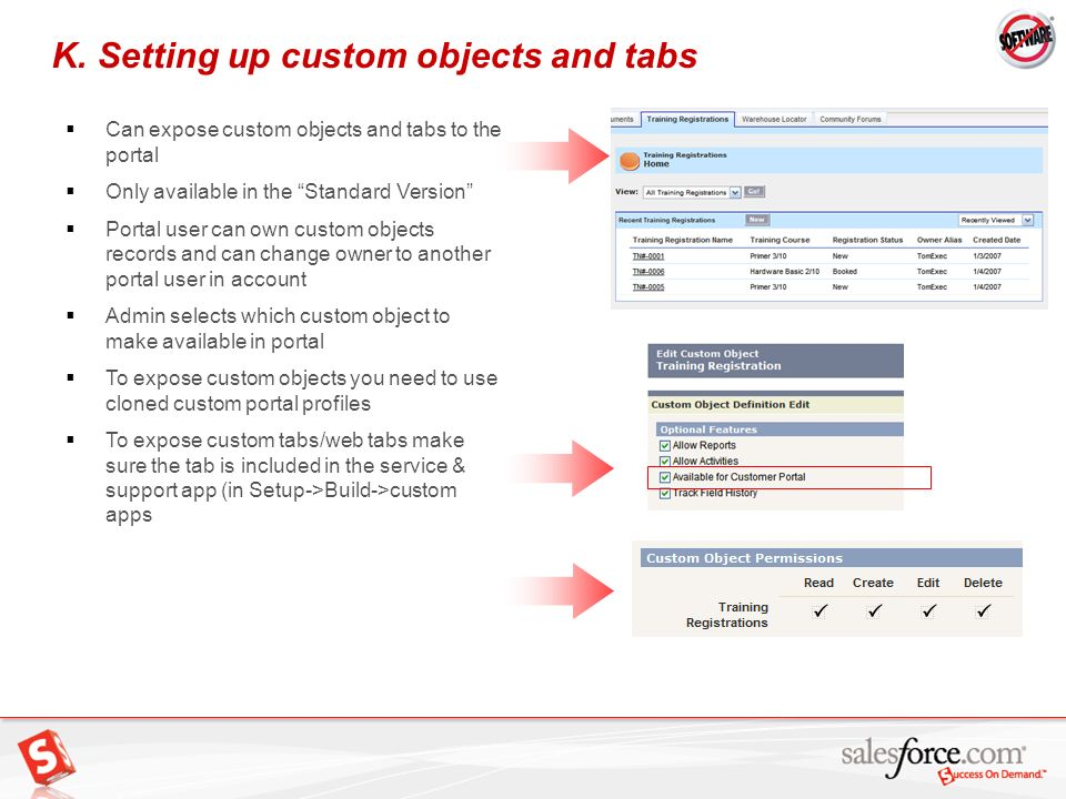K. Setting up custom objects and tabs