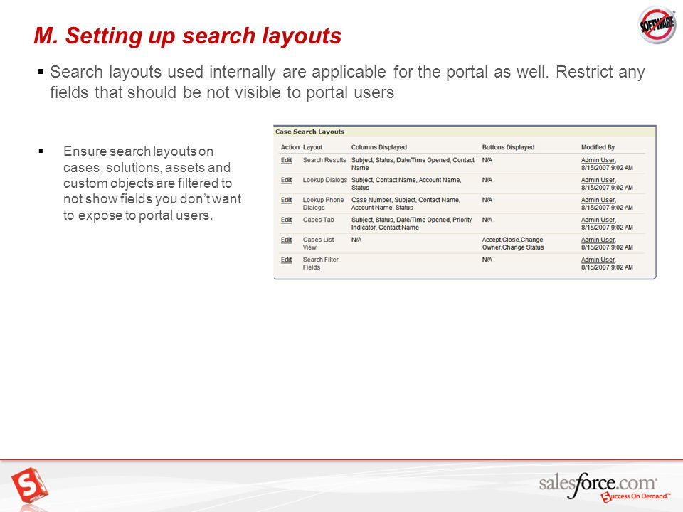 M. Setting up search layouts