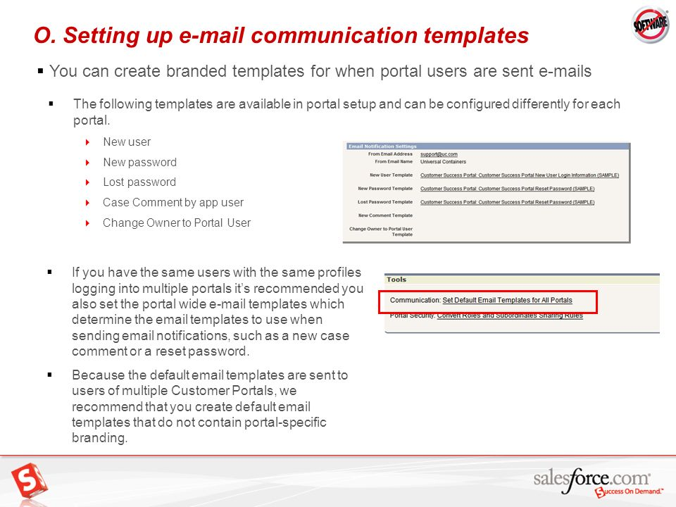 O. Setting up e-mail communication templates
