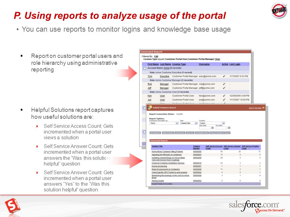 P. Using reports to analyze usage of the portal